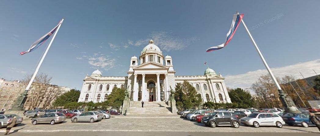 Скупштина Републике Србије, фотографија Принтскрин - Гугл мапс