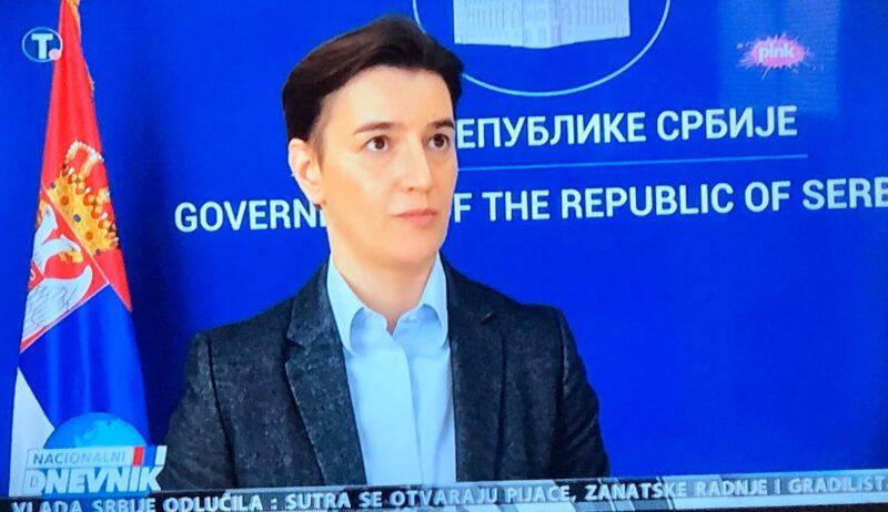 Ана Брнабић, фото: ТВ Пинк, пртСцр