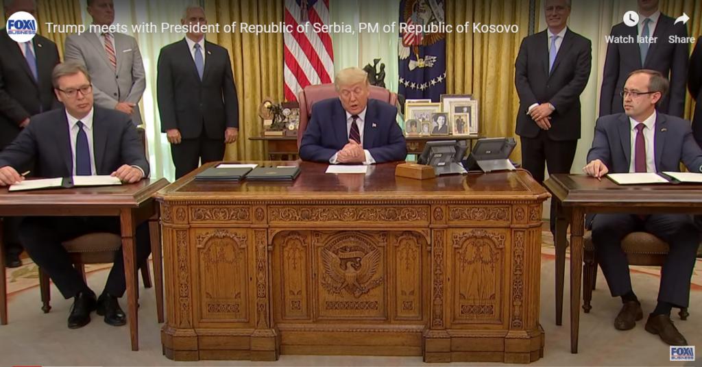 Председник Трамп и Вучић у Белој кући, фото: Фокс ТВ, јутјуб